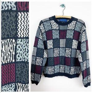 VTG 90s Karen Scott Patchwork Animal Print Sweater
